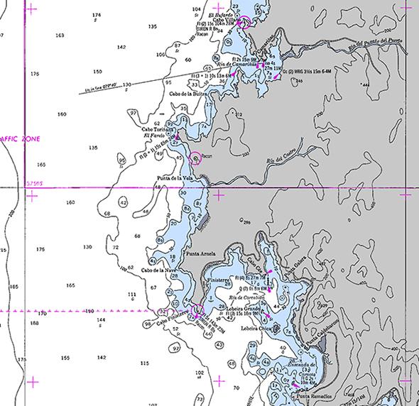 Carta náutica de Cabo Vilano a Punta Remedios