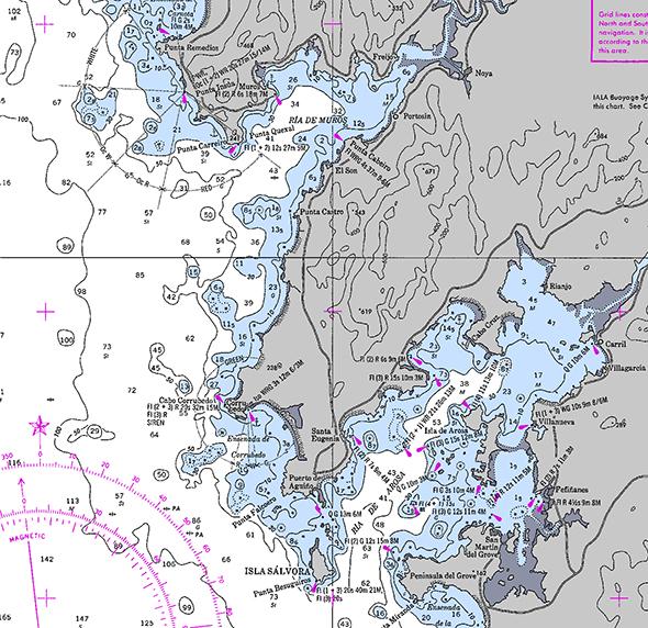 Carta náutica de Punta Remedios a Península de O Grove