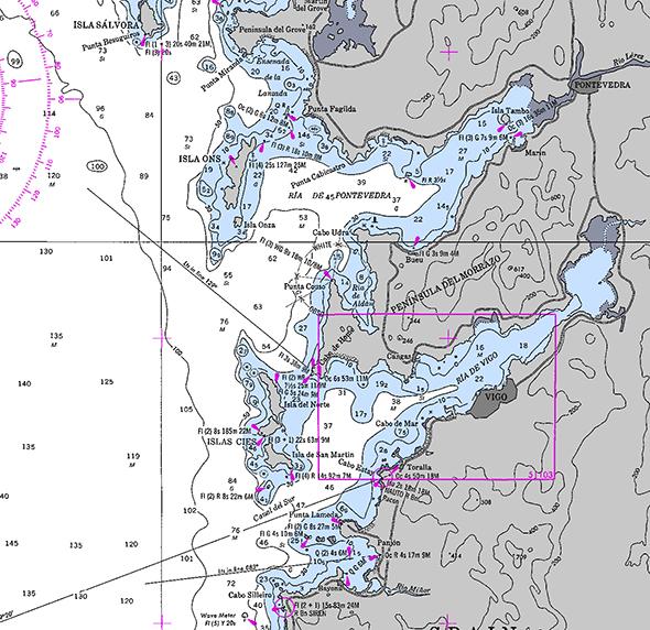 Carta náutica de Península de O Grove a Cabo Silleiro