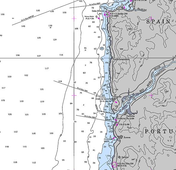 Carta náutica de Cabo Silleiro a Gateira (Portugal)