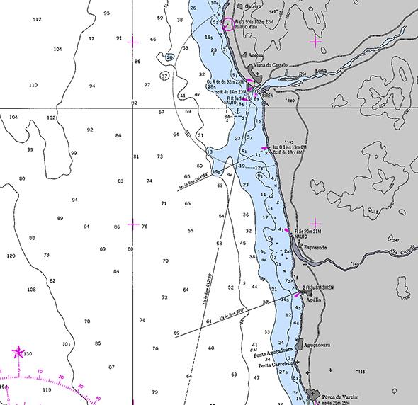 Carta náutica de Gateira a Póvoa de Varzim (Portugal)