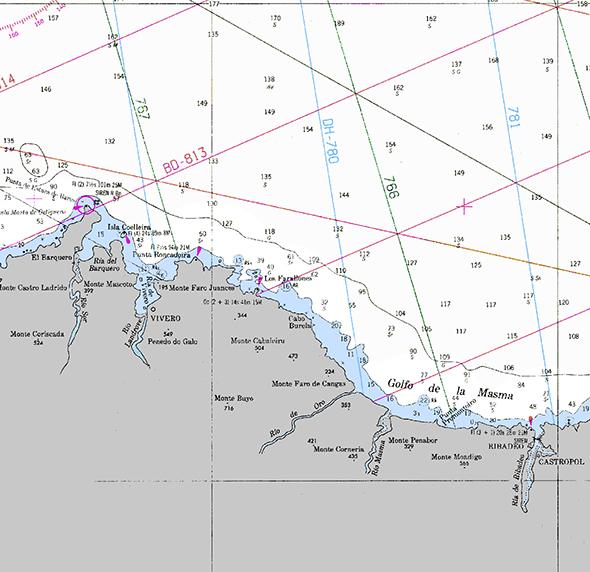 Carta náutica Ribadeo a Punta de Estaca de Bares