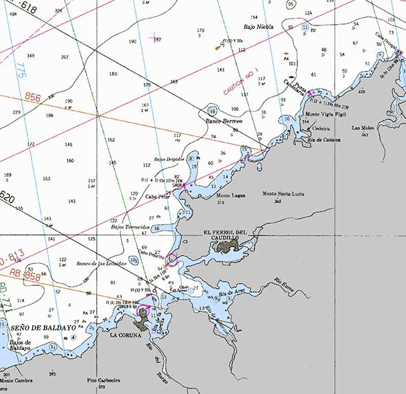 Carta náutica de Cabo Ortegal a A Coruña