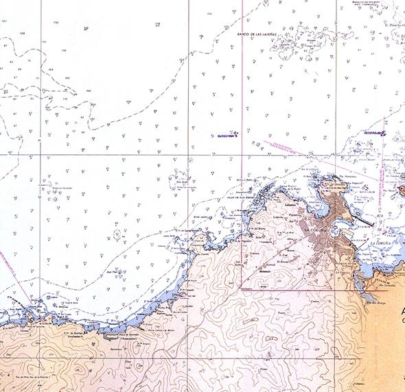 Carta náutica de A Coruña a Punta Insua de Caión