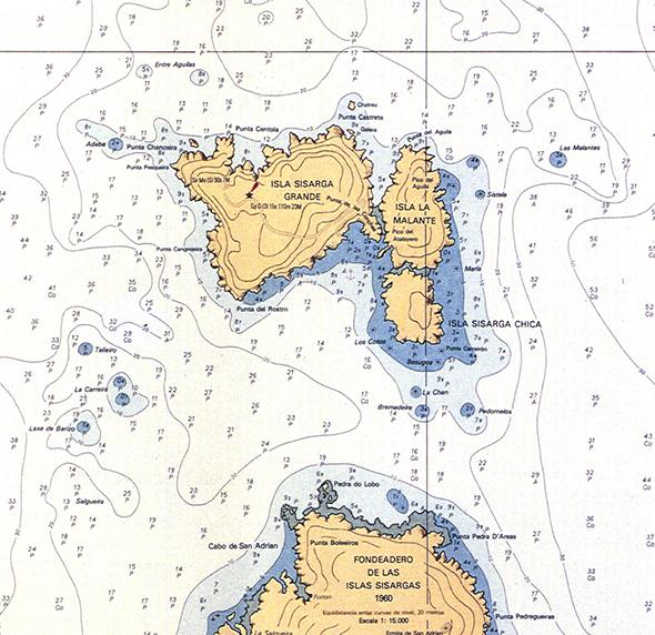 Carta náutica de Illas Sisargas