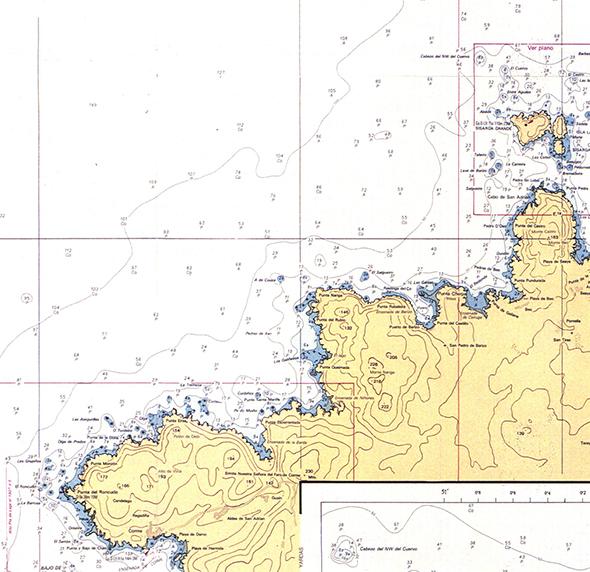 Carta náutica de Illas Sisargas a Punta Roncudo