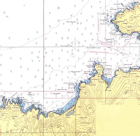 Carta náutica de Punta Roncudo a Punta Pedra do Sal