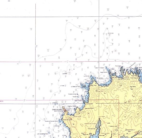Carta náutica de Punta Pedra do Sal a Cabo Vilano