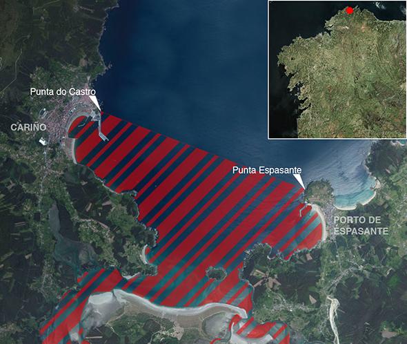 Límites zona de pesca Ría de Ortigueira