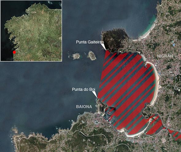 Límites zona de pesca Ría de Baiona
