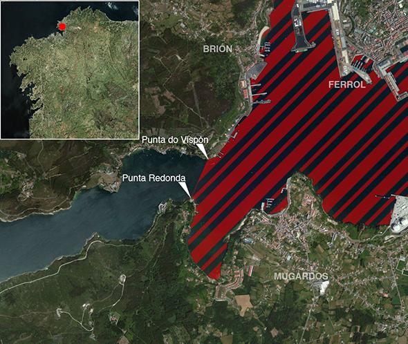 Límites zona de pesca Ría de Ferrol
