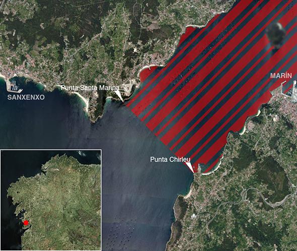 Límites zona de pesca Ría de Pontevedra