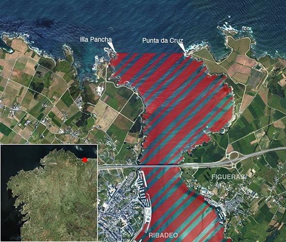 Límites zona de pesca Ría de Ribadeo