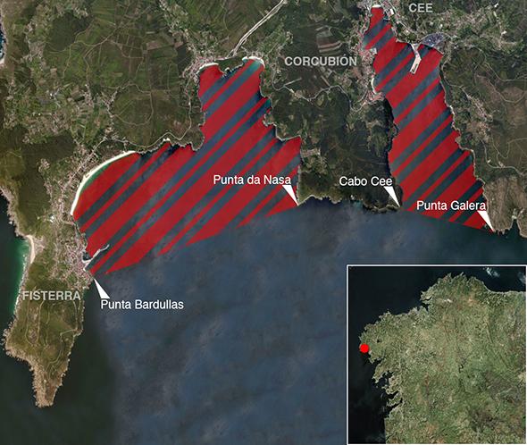Límites zona de pesca Ría de Corcubión
