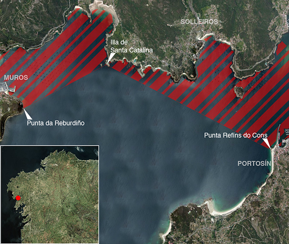 Límites zona de pesca Ría de Muros y Noia