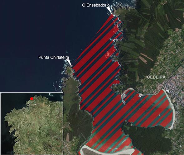 Límites zona de pesca Reserva marina Ría de Cedeira