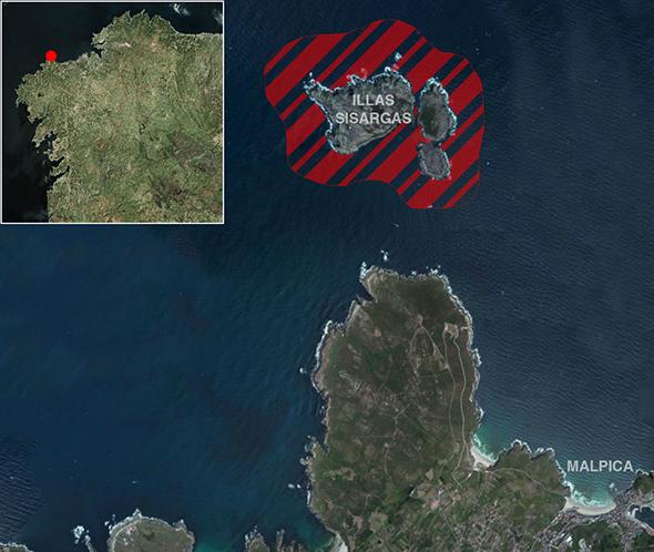 Límites zona de pesca Illas Sisargas