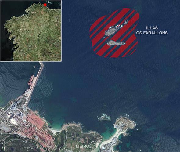 Límites zona de pesca Illas Os Farallóns