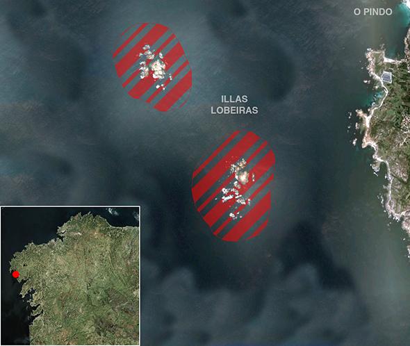 Límites zona de pesca Illas Lobeiras