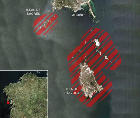Límites zona de pesca Illa Sálvora (Parque Nacional Illas Atlánticas)