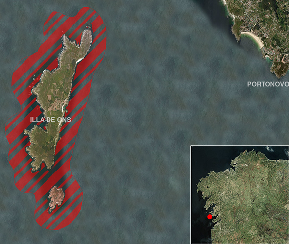 Límites zona de pesca Illas Ons (Parque Nacional Illas Atlánticas)