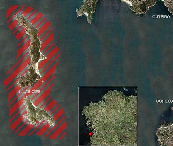 Límites zonas de pesca Illas Cíes (Parque Nacional Illas Atlánticas)