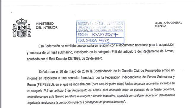 notificación sobre la adquisión y tenencia de Fusiles de Pesca Submarina